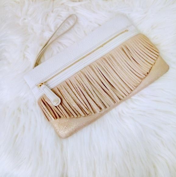 Vera Bradley Handbags - Genuine leather gold fringe wristlet Mia